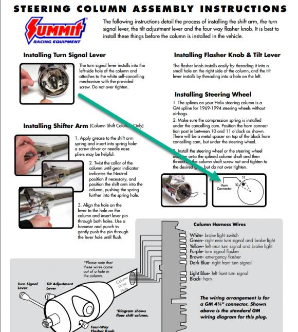 How do I check ground at steering column for horn - Chevelle Tech Proheader Steering Column Wiring Diagram on