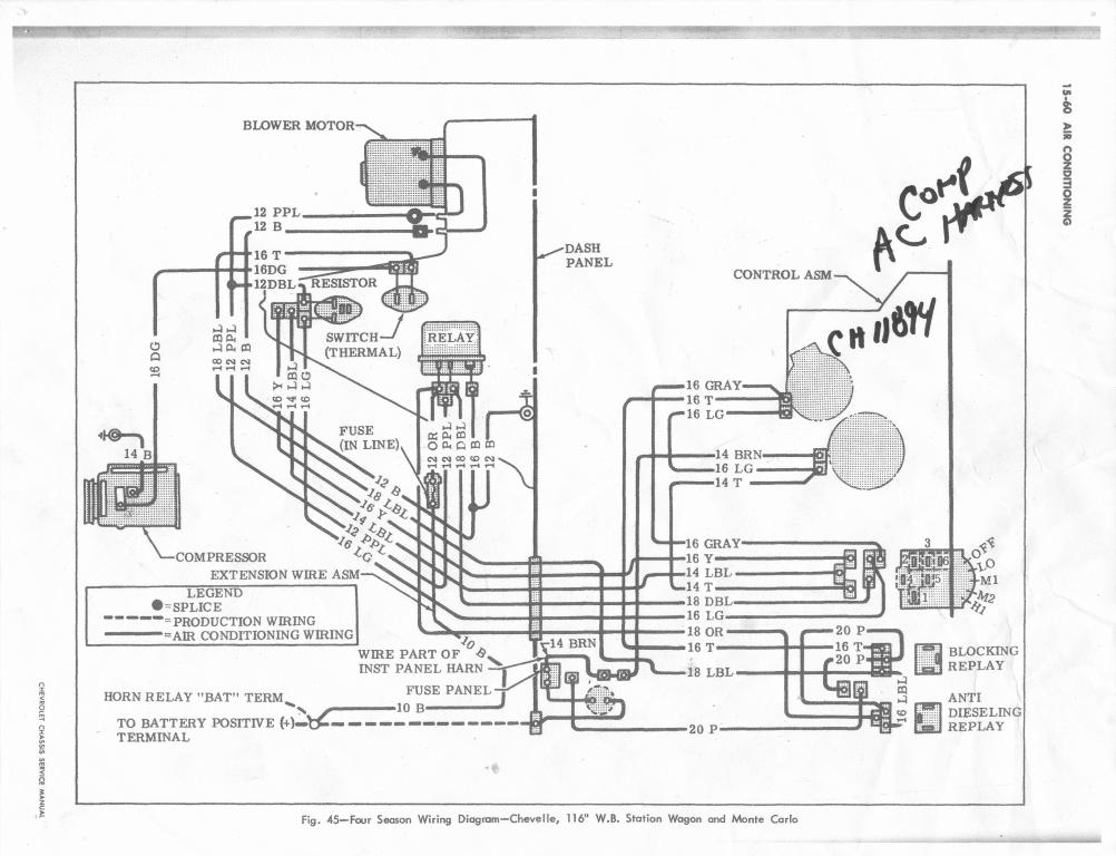 ac wiring diagram or same chevelle tech isn t 71 the year the relays behind the glove box or was that 72 s i know 70 s don t have those